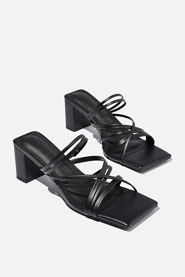 Elle Strappy Low Block Heel, BLACK PU