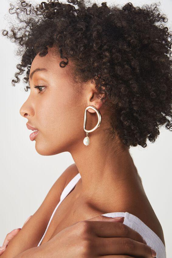 Celeste P&T Earring, PEARL/GOLD