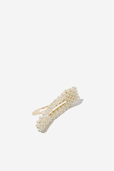 Sienna Hair Clip, PEARL/GOLD