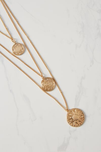 Coin Triple Layer Necklace, GOLD