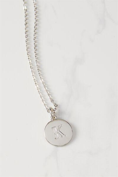 Letter Flat Pendant Necklace, SILVER - K