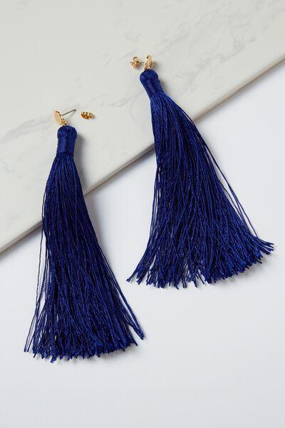 Shoulder Duster Tassel Earring, ELECTRIC BLUE