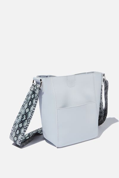 Evie Bucket Strap Bag, GREY/SNAKE