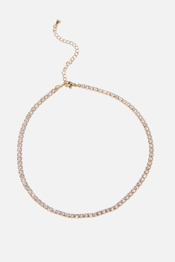 Treasures Luxe Single Chain Necklace, DIAMANTE TENNIS NECKLACE
