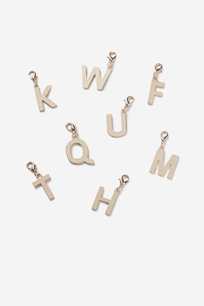 Luxe Letter Charm, CHAMPAGNE