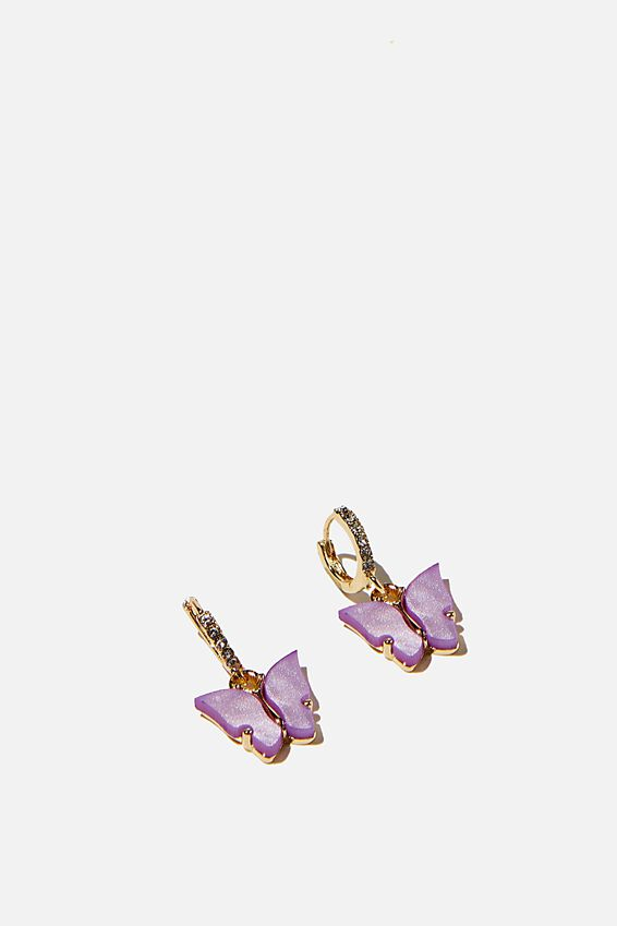 Ear Party Luxe Huggie Hoops, LILAC GOLD BUTTERFLY