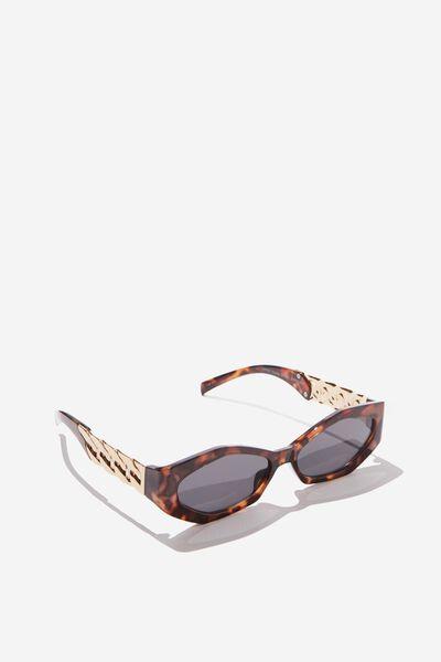 Jodie Chain Detail Sunglass, TORT