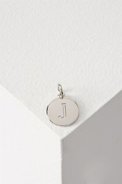 Letter Flat Pendant Charm, SILVER - J
