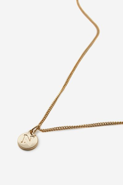 Letter Charm Necklace, GOLD N
