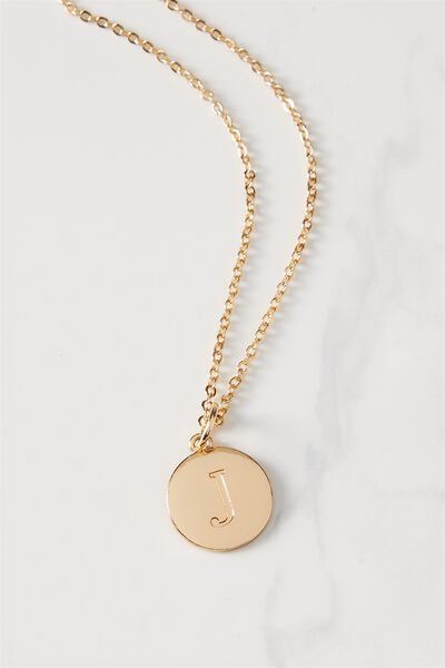 Letter Flat Pendant Necklace, GOLD - J