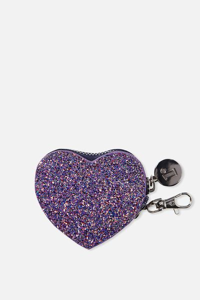 Houston Heart Purse, BLUE GLITTER