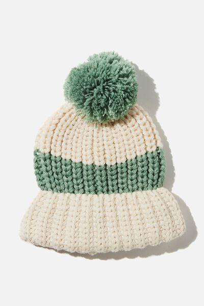 Chunky Knit Pom Pom Beanie, PISTACHIO GREEN/SANDSTONE STRIPE