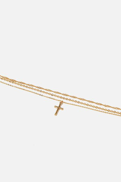 Carrie Chain Anklet, GOLD CROSS DROP