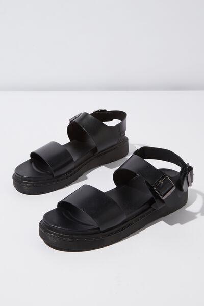 Kel Combat Sandal, BLACK PU