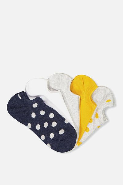 5Pk Sports Low Cut Sock, MUSTARD/NAVY SPOT