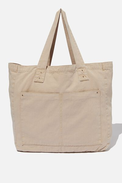 Max Washed Weekend Tote Bag, DUSTY ROSE DENIM