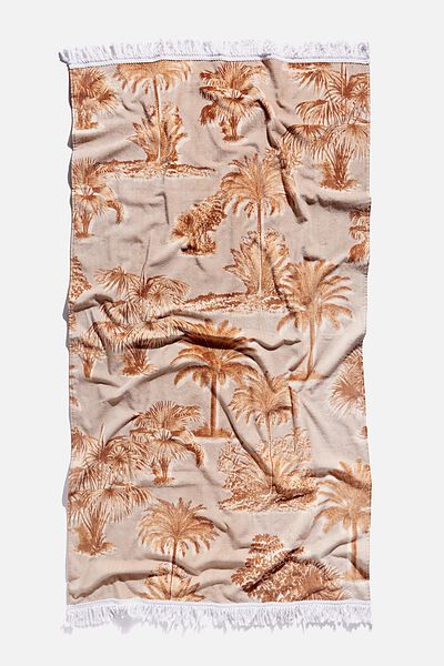 Bondi Rectangle Towel, BROWN PALM TREE PRINT