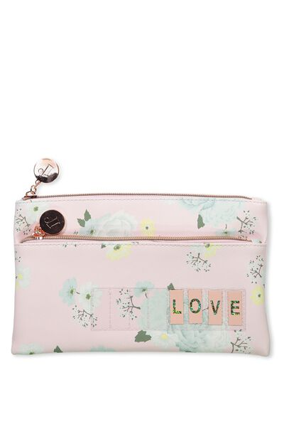 Personalised Dual Zip Cosmetic Case, ROMANTIC FLORAL-PINK ICING