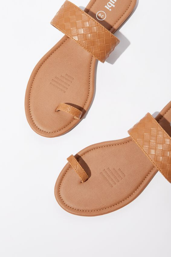 Everyday Toe Loop Slide, CINNAMON WOVEN PU