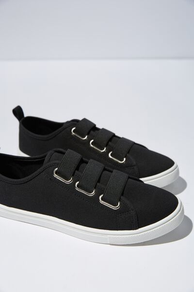 Olsen Elastic Slip On, BLACK CANVAS