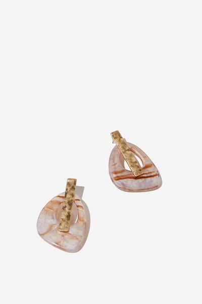 Alabama Western Earring, TOFFEE MARBLE