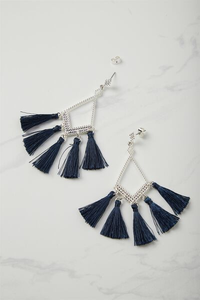 Frankie Floral Statement Earring, NAVY/SILVER