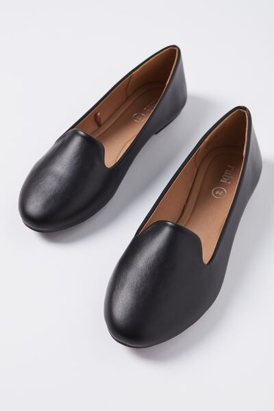 Sophia Slipper, BLACK SMOOTH PU