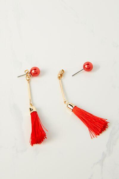 Pearl Single Tassel Earring, RED