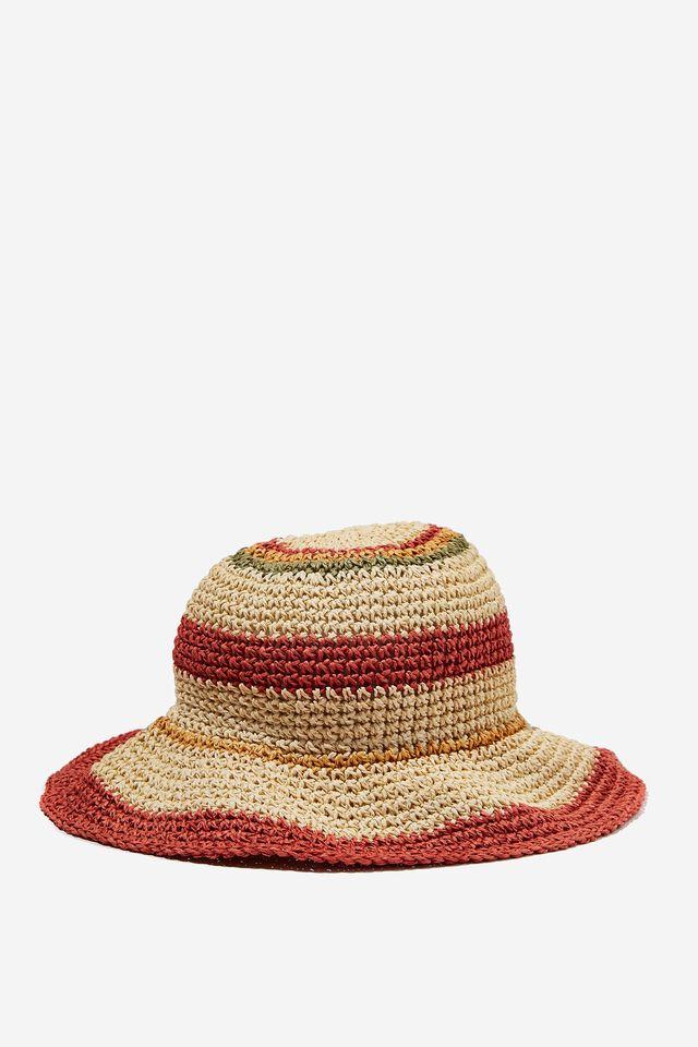 Kimberley Crochet Bucket Hat, RETRO BROWN STRIPE