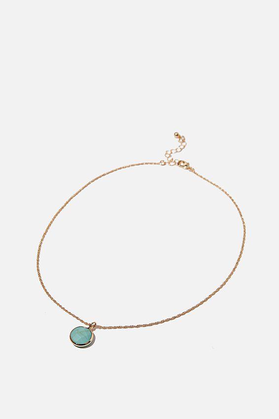 Treasures Short Pendant Necklace, TURQUOISE