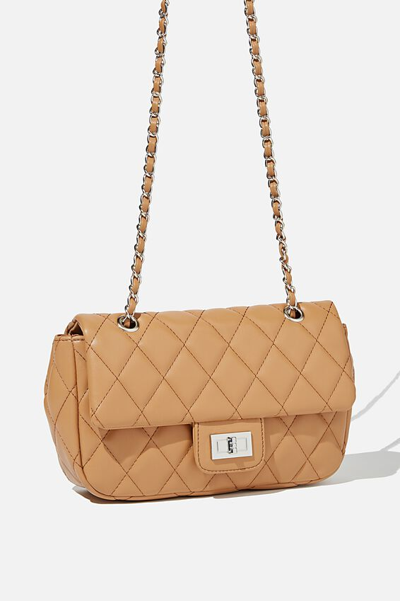 Hailey Quilted Cross Body Bag, TAN