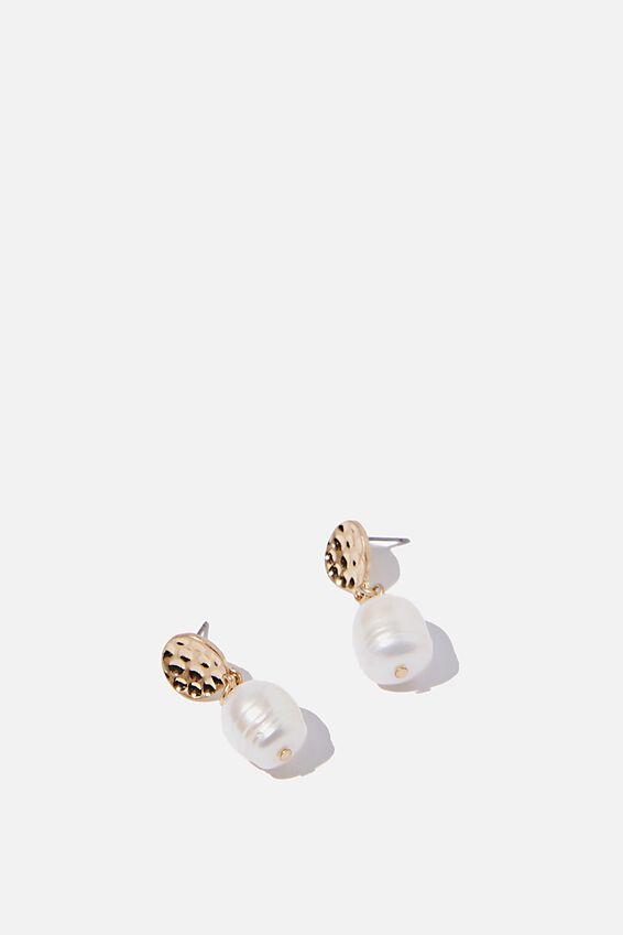 Hammered Top Pearl And Gold Earring, GOLD/PEARL