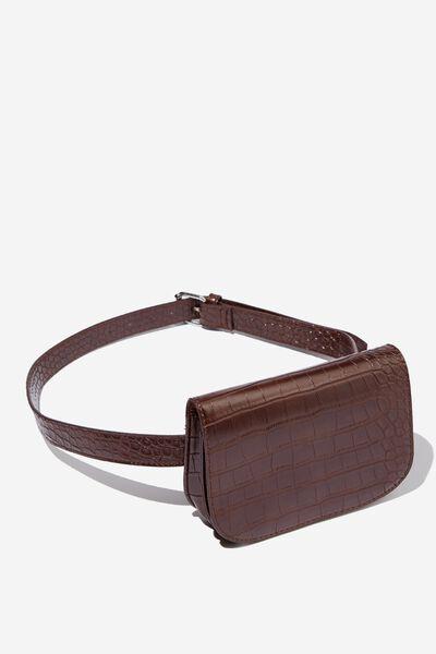 Aimee Rectangle Belt Bag, CHOCOLATE CROC