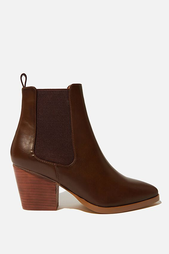 Sophia Gusset Boot, DARK TAN SMOOTH
