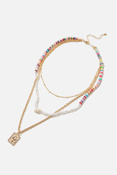Holiday Beachcomber Layered Necklace, RAINBOW & PEARL