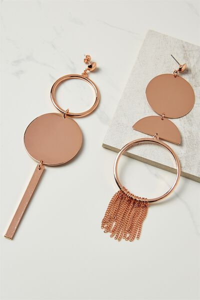 Mismatch Metal Shoulder Duster, ROSE GOLD