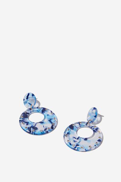 Tokyo Earring, BLUE MOTTLE DIA