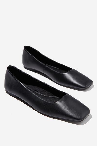 Square Toe Ballet, BLACK PU