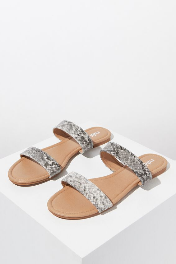 Everyday Double Thin Strap Slide, FAUX SNAKE PU