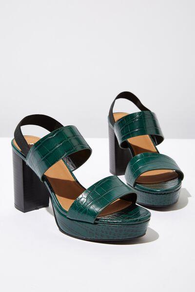 Ava Platform Heel, GREEN CROC EMBOSS PU