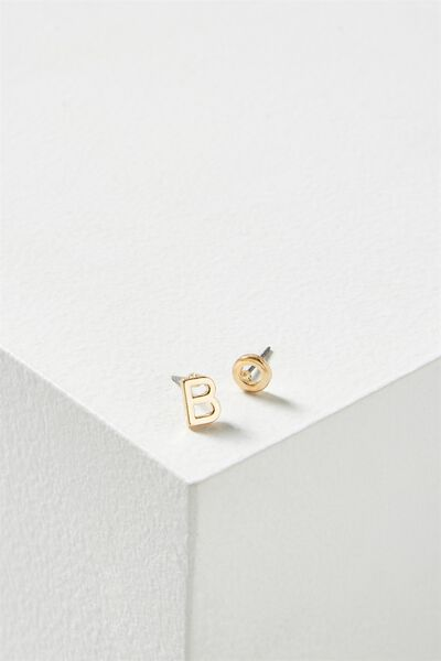Alpha Stud Earring, GOLD - B