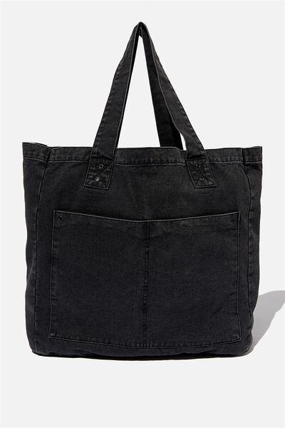 Max Washed Weekend Tote Bag, BLACK STONE WASH DENIM