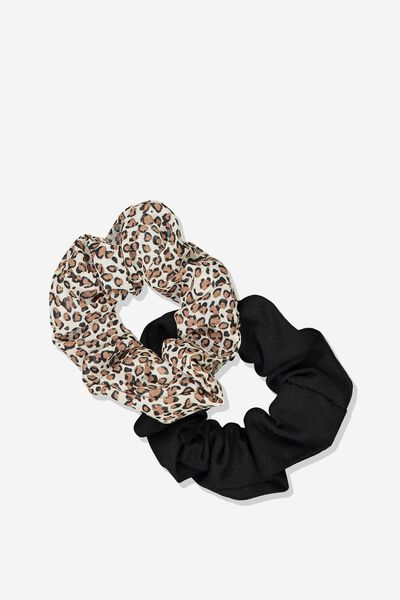 2Pk Scrunchie, NATURAL MINI LEOPARD