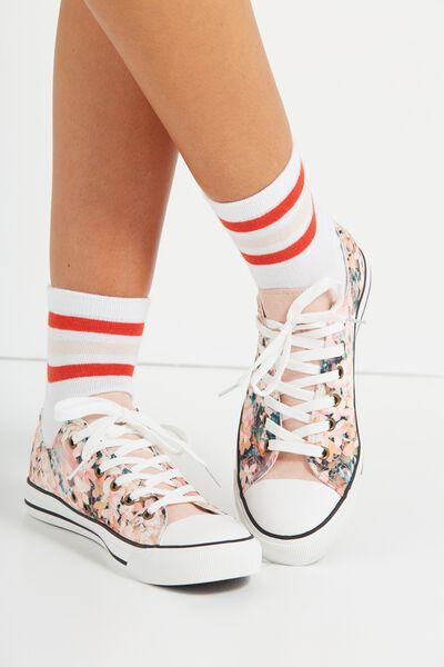 Triple Stripe Sock, RED/PINK STRIPE