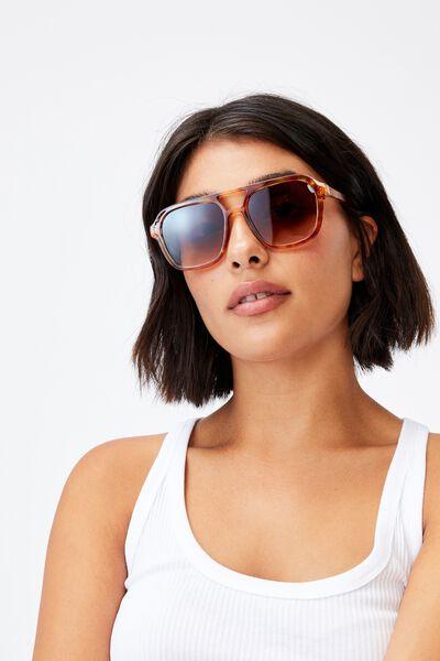 Jaz Oversized Aviator Sunglasses, AMBER TORT