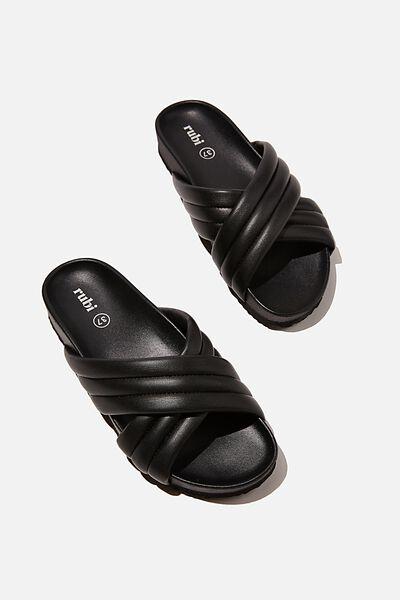 Cushy Crossover Slide, BLACK PU