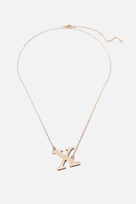 Tilted Letter Necklace, GOLD X