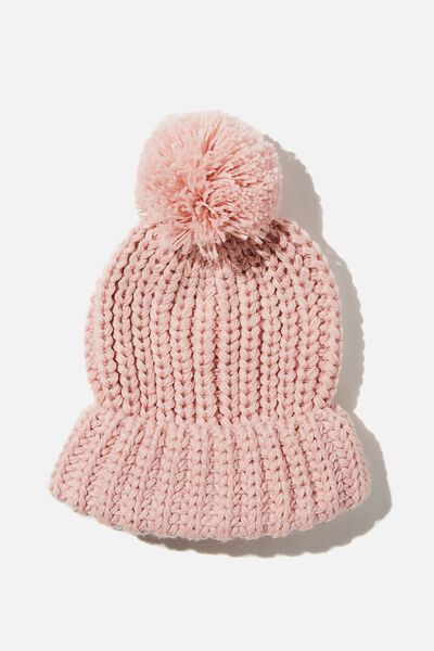 Chunky Knit Pom Pom Beanie, BLUSH