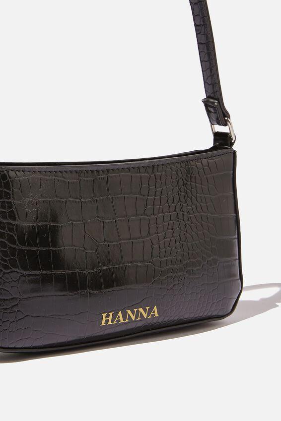 Personalised Lexi Underarm Bag, BLACK TEXTURE