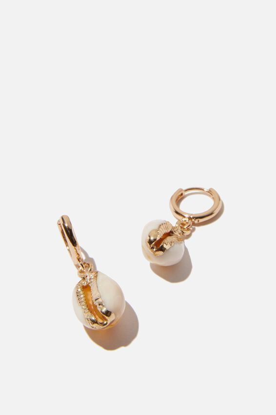 Ear Party Luxe Huggie Hoops, GOLD COWRIE SHELL